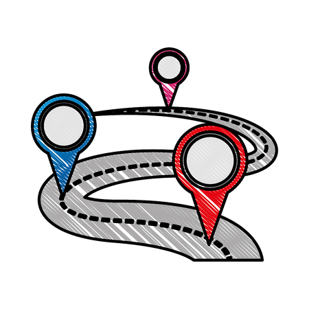 gps navigation route street travel pointers markers vector illustration Çizim