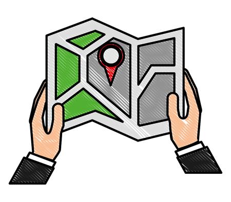 hand holds gps navigation folded map pin vector illustration Illustration