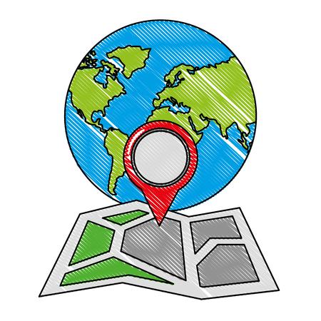 gps navigation folded map pointer world vector illustration Illustration