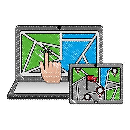 GPS navigation map on screen laptop mobile click find vector illustration 向量圖像