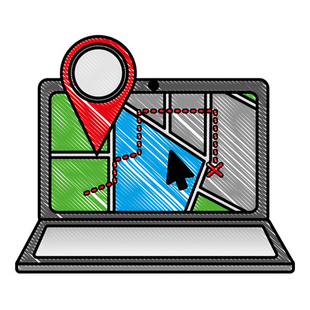 GPS navigation laptop web app cursor pointer map vector illustration