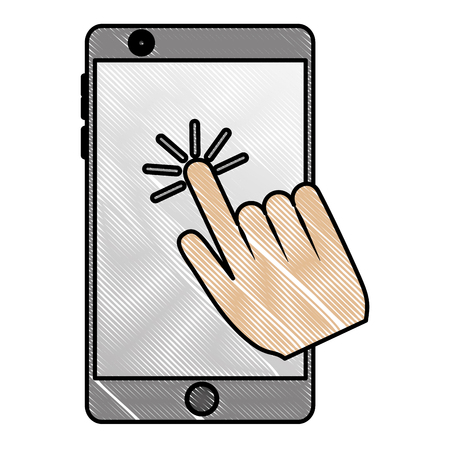 Smartphone with hand click cursor on screen vector illustration