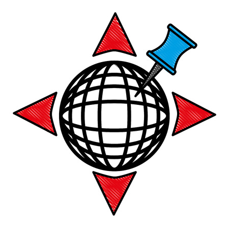 GPS navigation global world directions arrows pin vector illustration