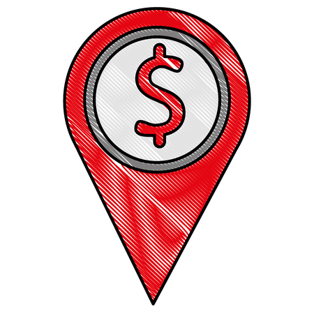 GPS navigation pointer pin map bank symbol vector illustration