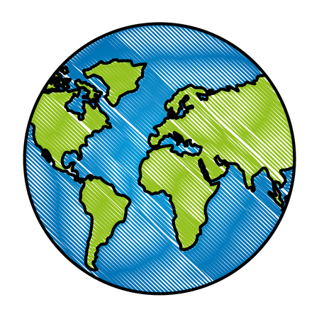 Globe map world location geography vector illustration Ilustração