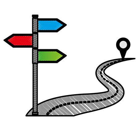 Illustration vectorielle de navigation GPS itinéraire départ arrivée destination