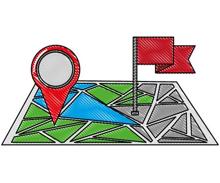GPS navigation flag pin map destination vector illustration Stock Vector - 100669618