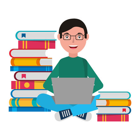 Man with laptop and books character vector illustration design 일러스트
