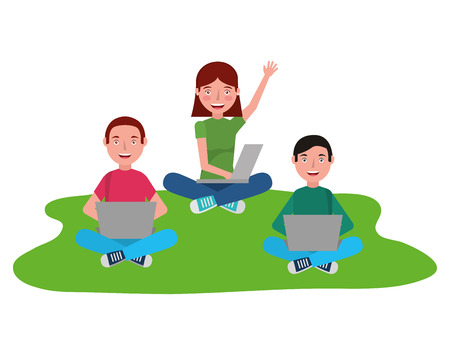 Group of young people with laptop computers vector illustration design