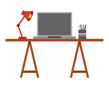 Laptop computer with desk and lamp vector illustration design Illustration