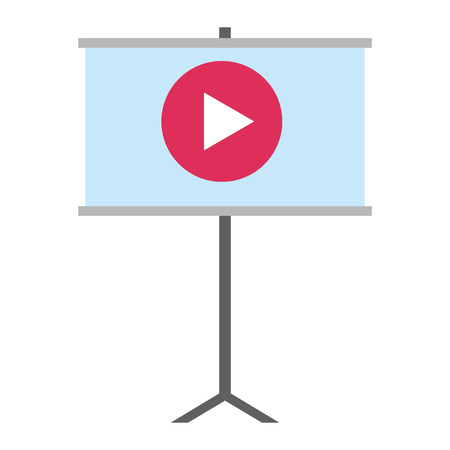 paperboard training with play button vector illustration design