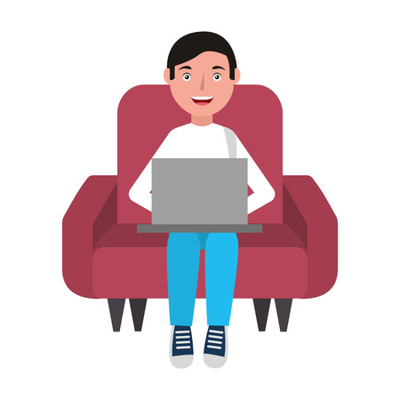 man with laptop in sofa character vector illustration design Foto de archivo - 100669645