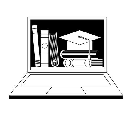 E-learning laptop books on screen graduation hat vector illustration Illustration