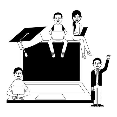 Groupe de diplômés apprenant avec illustration vectorielle ordinateur portable.