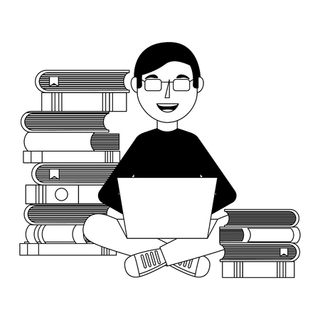 Young man sitting in floor with laptop and books pile vector illustration. Ilustração