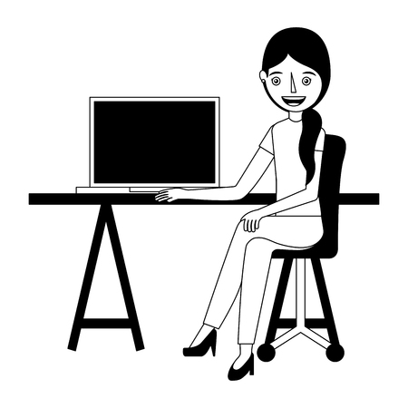 Woman sitting in the office chair desk and computer vector illustration. Stock Illustratie