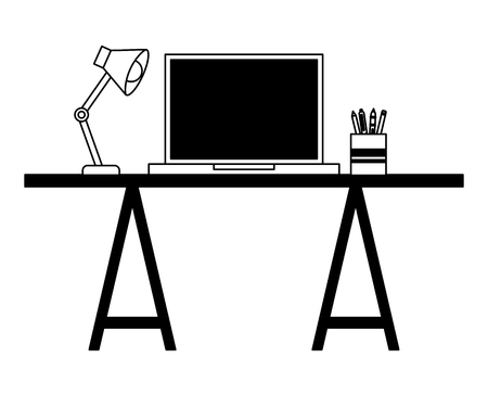 Workspace desk laptop lamp and pencils pen vector illustration 向量圖像