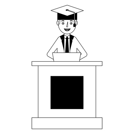Student in cap and gown graduation speech from a tribune stand vector illustration