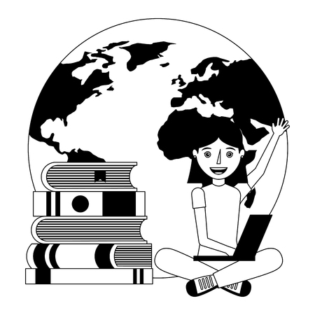 happy woman learning with books and laptop world vector illustration