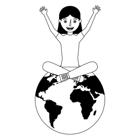 happy young woman sitting on world globe vector illustration Illustration