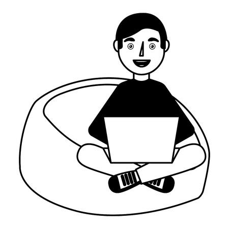 happy young man sitting bean bag in chair with laptop vector illustration