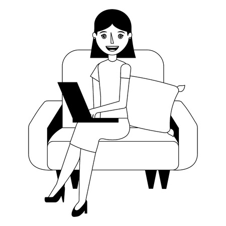 young woman with laptop sitting in the sofa vector illustration