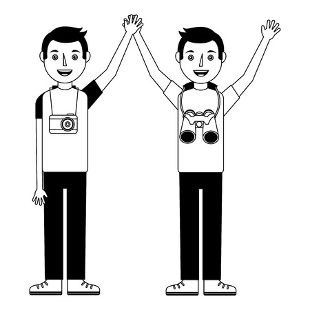 two happy young men raised hands with camera and binoculars vector illustration
