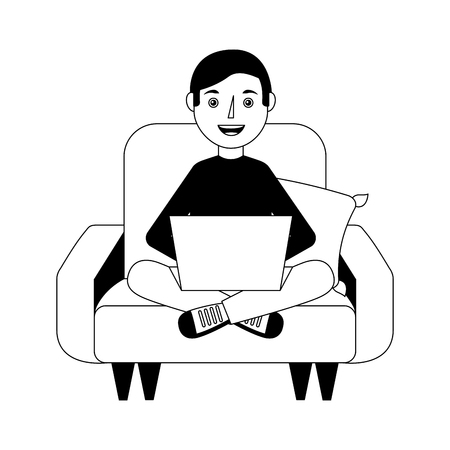 young man sitting in sofa with laptop vector illustration