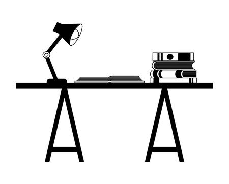 workspace desk book open and encyclopedias lamp vector illustration