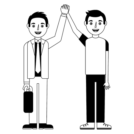 happy man teacher and student guy happy arms up vector illustration Ilustração