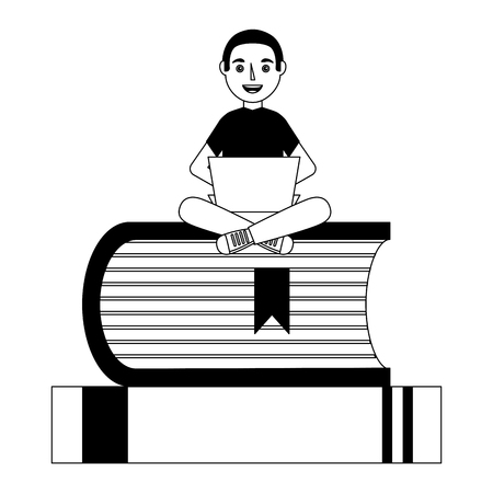 young man with computer sitting on a stack of books vector illustration Stock Vector - 100683791