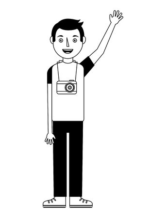 young man standing with photographic camera vector illustration