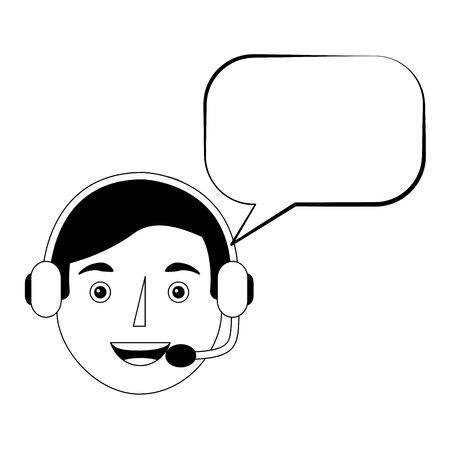 man operator portrait headset and speech bubble vector illustration