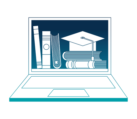 laptop with graduation hat and books vector illustration design
