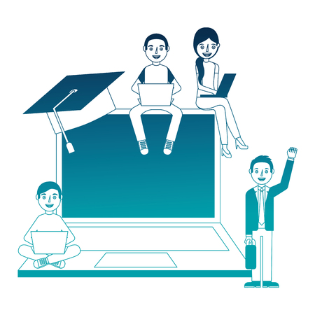 laptop computer group of students vector illustration design