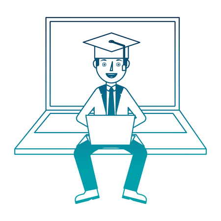 man with laptop with graduation hat character vector illustration design Çizim