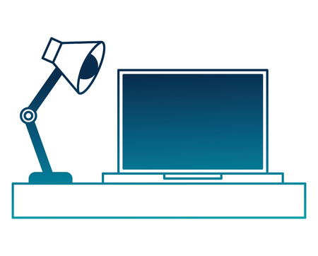 laptop computer with desk and lamp vector illustration design
