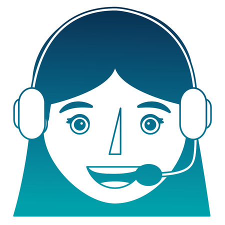 young woman with headset avatar character vector illustration design