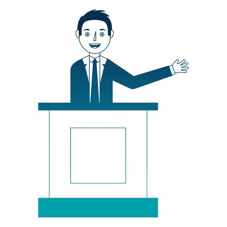 Elegant businessman talking in podium avatar character  illustration design