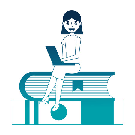 woman with laptop and books character vector illustration design 일러스트