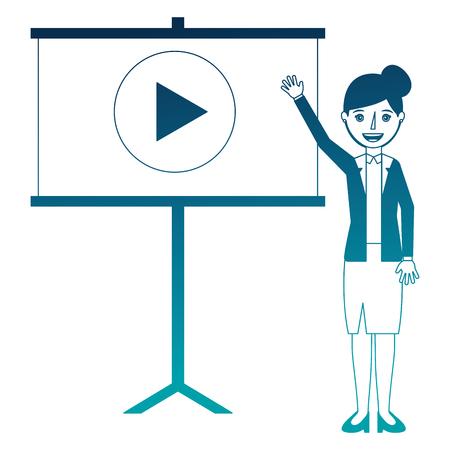 elegant businesswoman with paperboard training vector illustration design Illustration