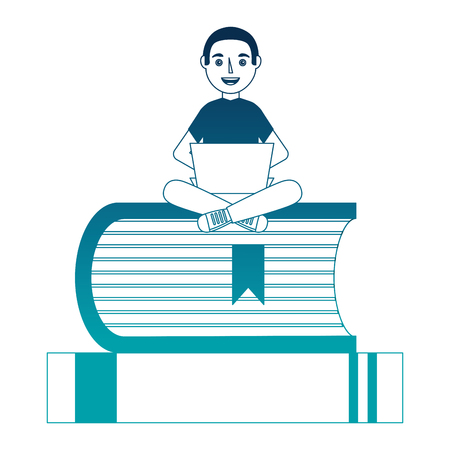 man with laptop and books character vector illustration design
