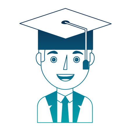elegant businessman with graduation hat avatar character vector illustration design