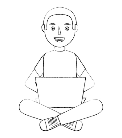 young graduate boy sitting on a stack of books vector illustration sketch