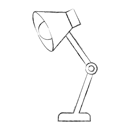 Lampe de bureau ampoule lumière accessoire vector illustration croquis