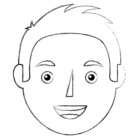 Young man face character image vector illustration sketch