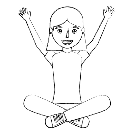 Young woman sit in floor with crossed legs vector illustration sketch Illustration