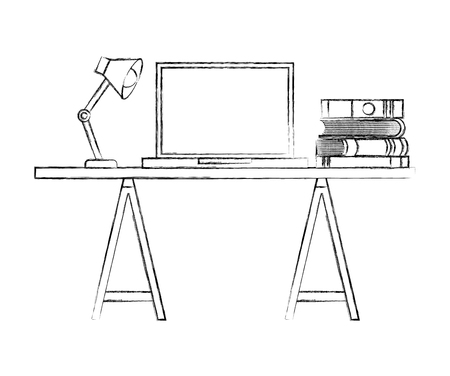 Workspace desk laptop books and lamp vector illustration sketch Illustration