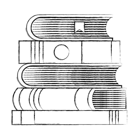 Stacked books literature encyclopedia learn vector illustration sketch Ilustrace