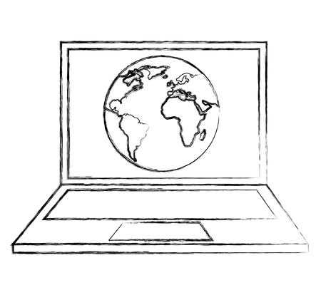 World map on screen laptop geography vector illustration sketch